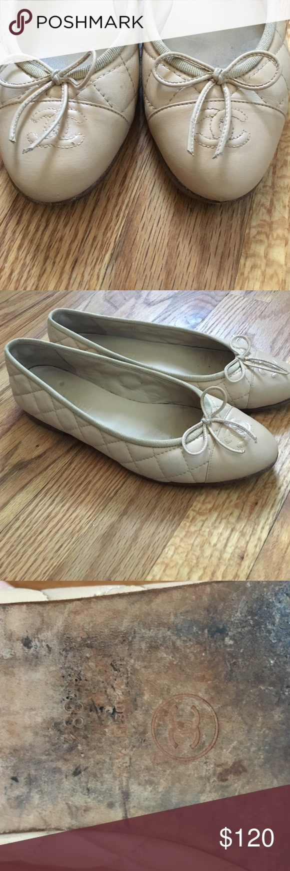 a4e8e2ec20c Chanel tonal quilted ballet flats 38 1 2 nude pink
