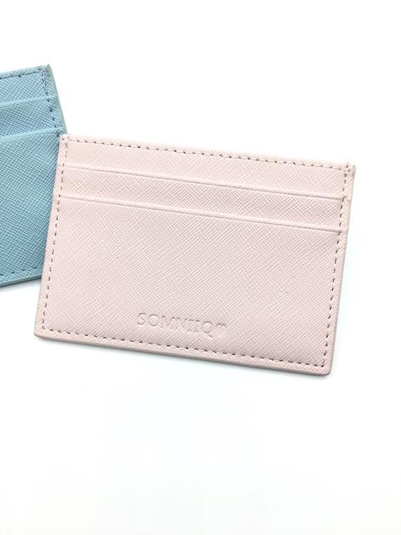 14db94e7951f38 Blush pink - Personalized leather card holder Gift for women Business card  case Credit card holder M