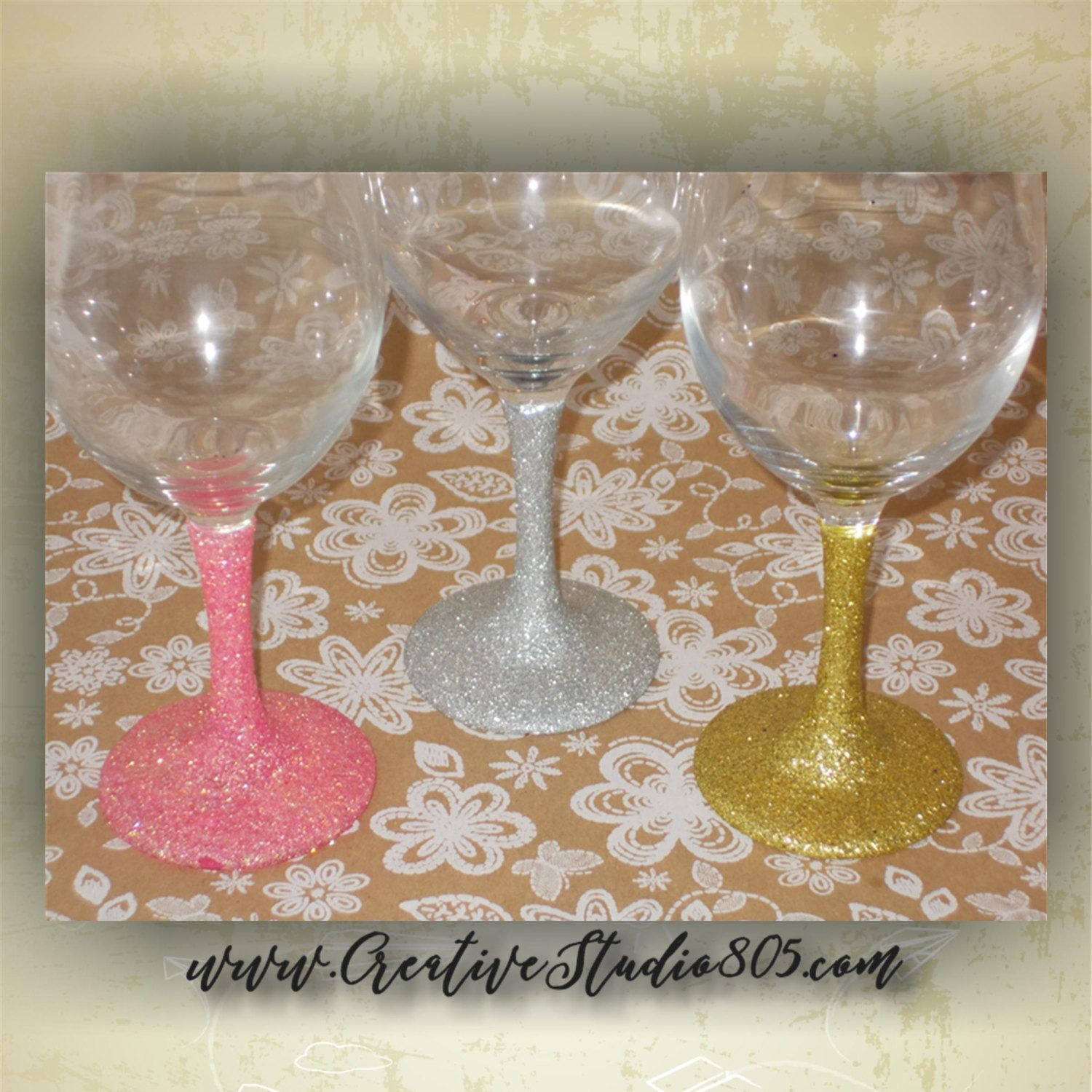 How to decorate wine glasses for bridesmaids - Glitter Only Decorated Glasses Birthday Glasses Custom Glassware Bridesmaids Glasses Glitter