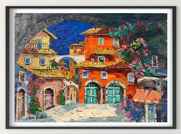 Scorcio in Lazio Italia pittura a olio arte murale pittura ...