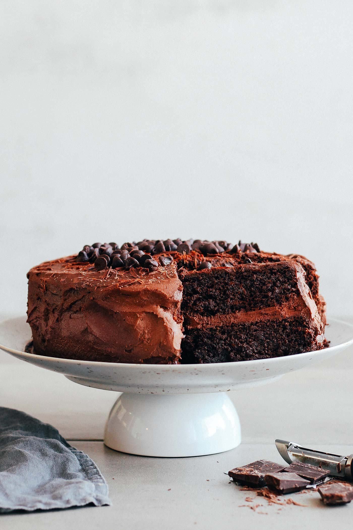 Fudgy chocolate layer cake vegan gf recipe fudgy
