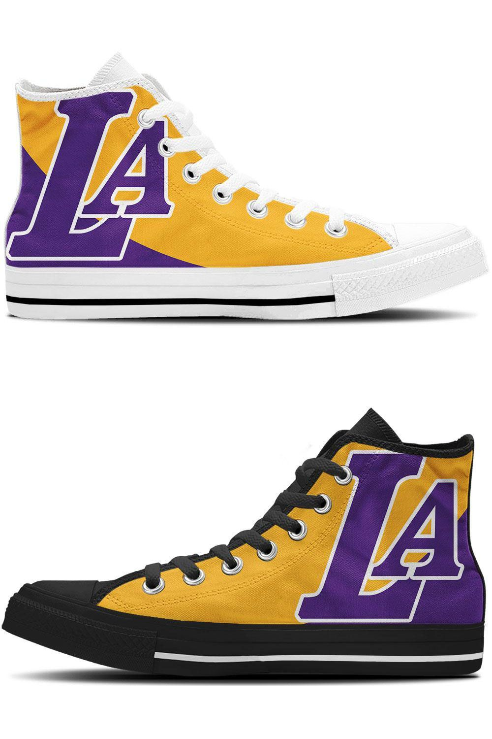 601214e316c6 Lakers Shoes - High Tops Sneakers Calling all LA Lakers fans! Show your  team pride with these amazing high top sneakers in the iconic LA colors.