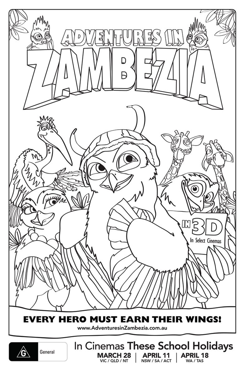 Adventures in Zambezia Colouring Sheets on The Loop