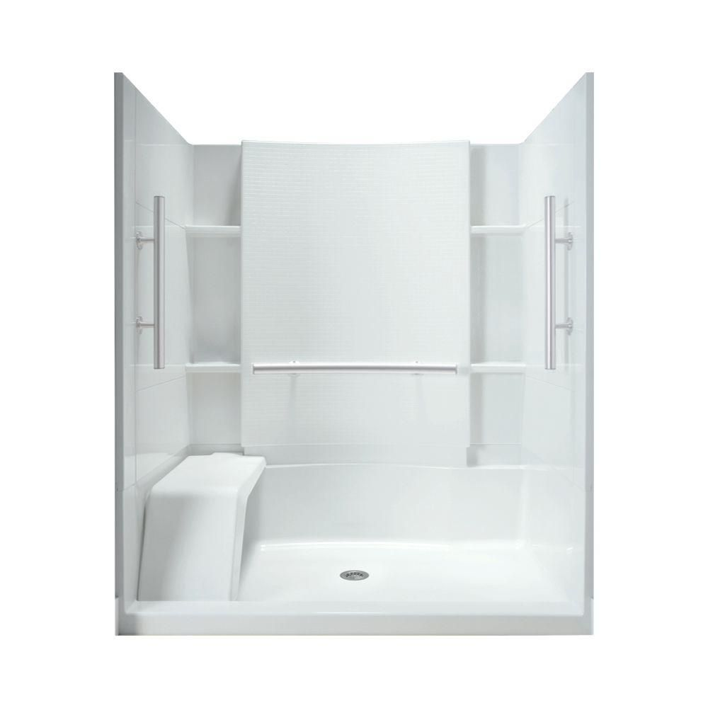 STERLING Accord 36 in. x 60 in. x 74-1/2 in. Shower Kit with Seat ...