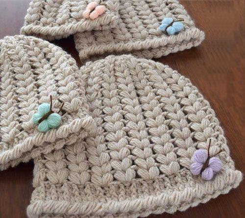 Butterfly Crochet Hat - Tutorial | Crochet | Pinterest