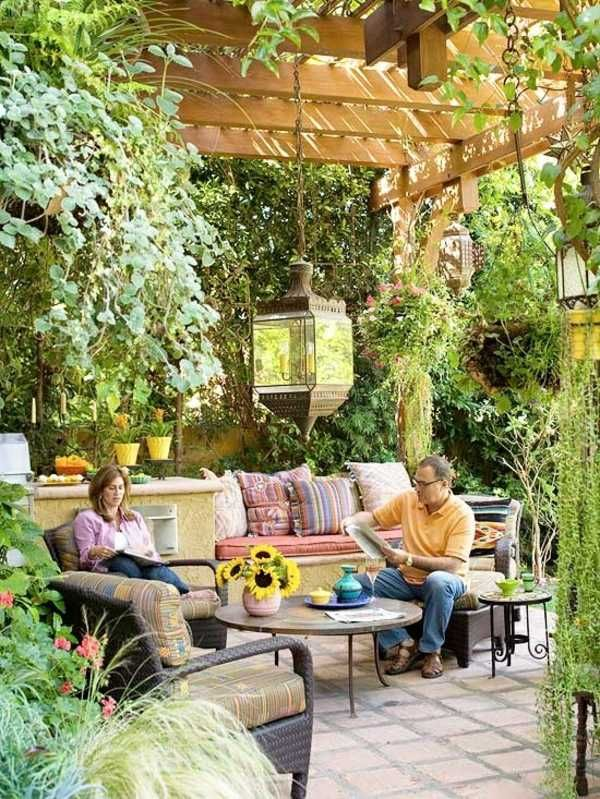 garten ideen terrasse pergola stein fliesen marokkanische windlichter a atrium pinterest. Black Bedroom Furniture Sets. Home Design Ideas