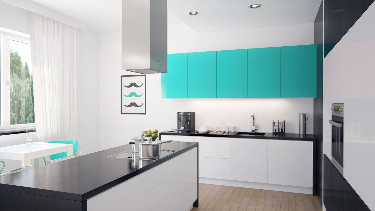Okap wyspowy Tiffany Blue od GLOBALO. http://superstolarz.pl/blog/nowa-aranzacja-w-kolorze-tiffany-blue