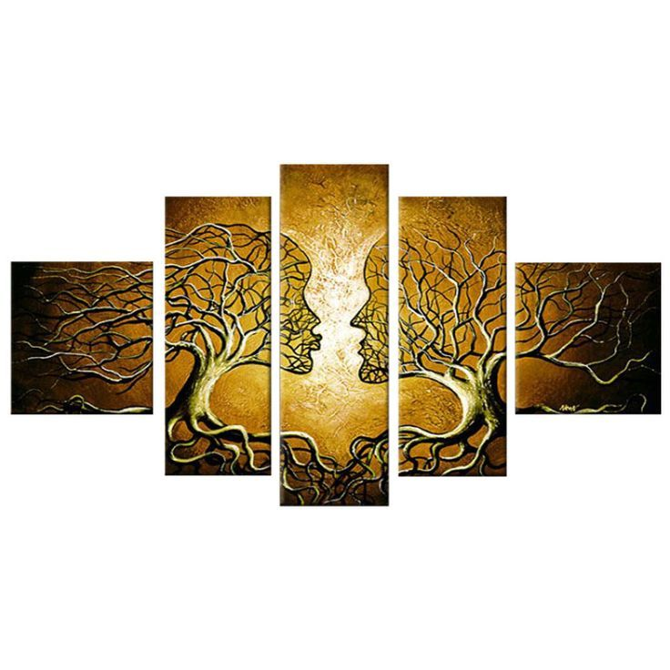 Yellow Human Tree Connection Landscape Canvas Wall Art Oil Painting ...