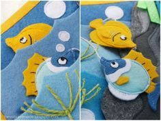 Felt fish... This crafter is an artist in every sense of the word. The intricate detail that goes into each page is amazing! I wish I had this much patience!