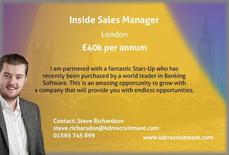 Inside Sales Manager Sales manager, Management, Banking