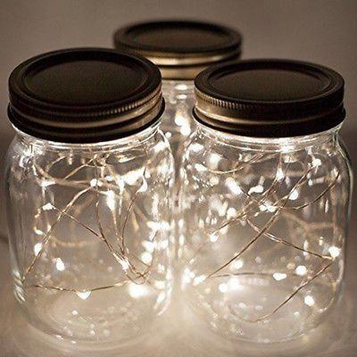 10 LED Solar Fairy Lights Mason Jar Lid Lamp Xmas Outdoor Garden Decor 1M