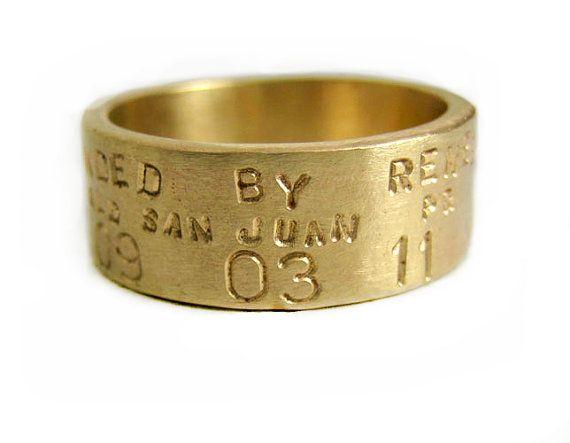 Mens 14K Gold Duck Band Personalized Wedding Ring Banded By Custom Anniversary Engraved Artisan Handmade Designer