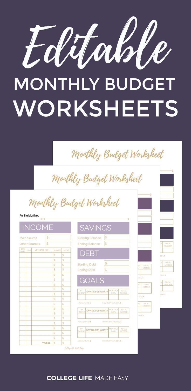 Free Printable Monthly Budget Worksheets | Pinterest | Monthly ...
