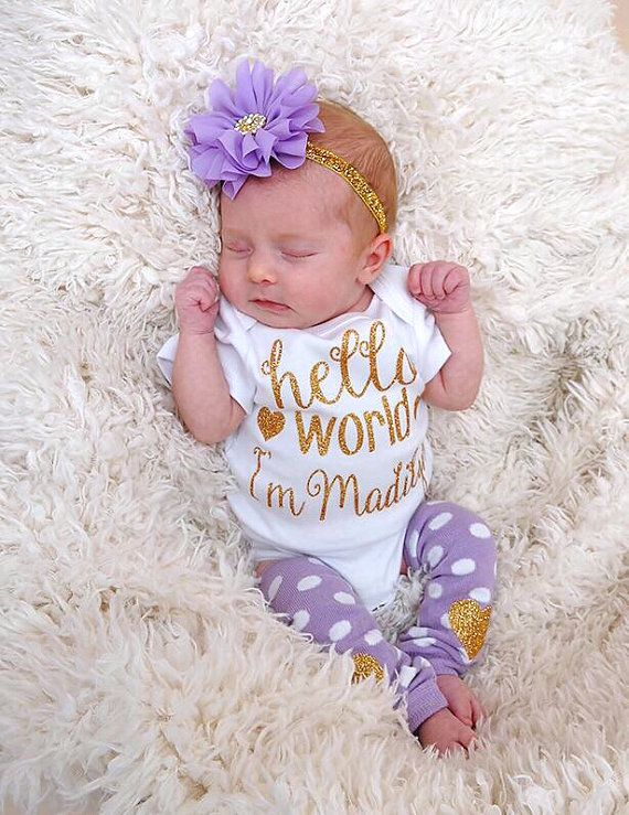 98b4eef6b Newborn Girl Personalized Outfit Hello World Lavender Gold Glitter ...