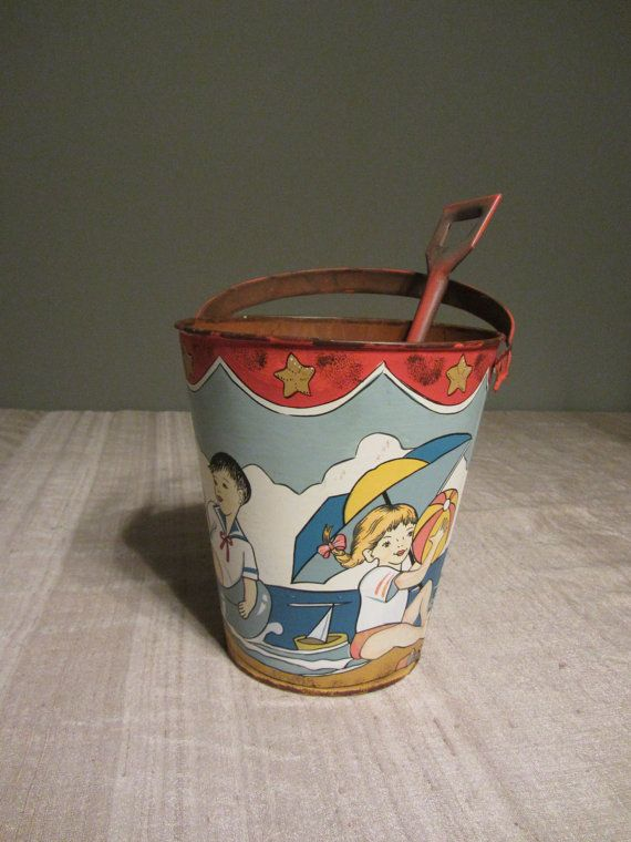 Vintage Tin Ohio Child's Beach Pail & Shovel Toy