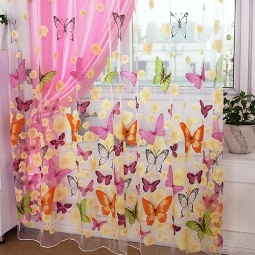 Butterfly Printed Tulle Voile Door Window Balcony Curtains for ...