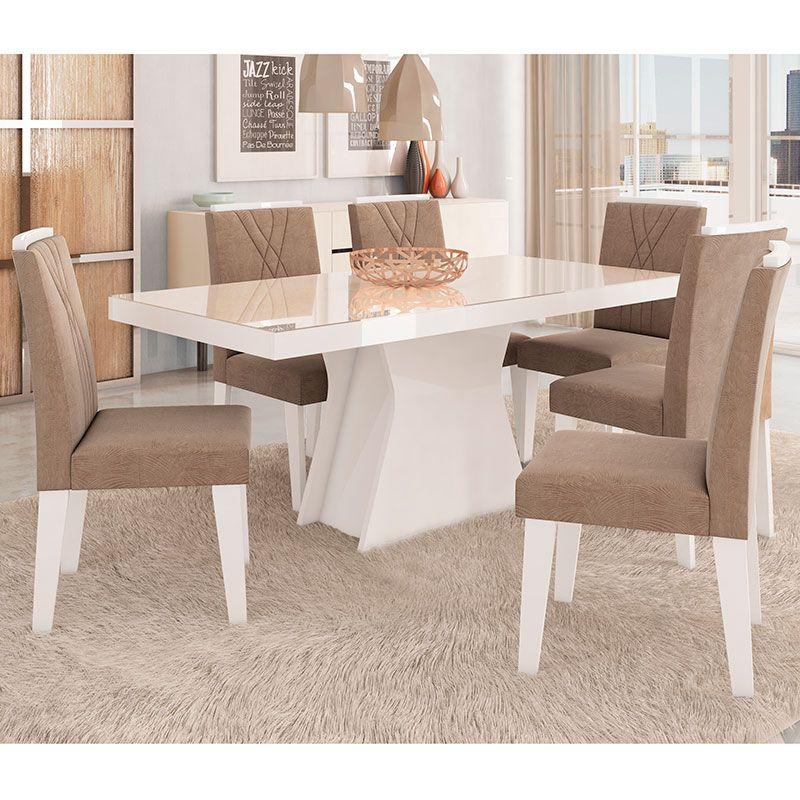Conjunto De Mesa Olivia 180x90cm Com 6 Cadeiras Nicole Cimol