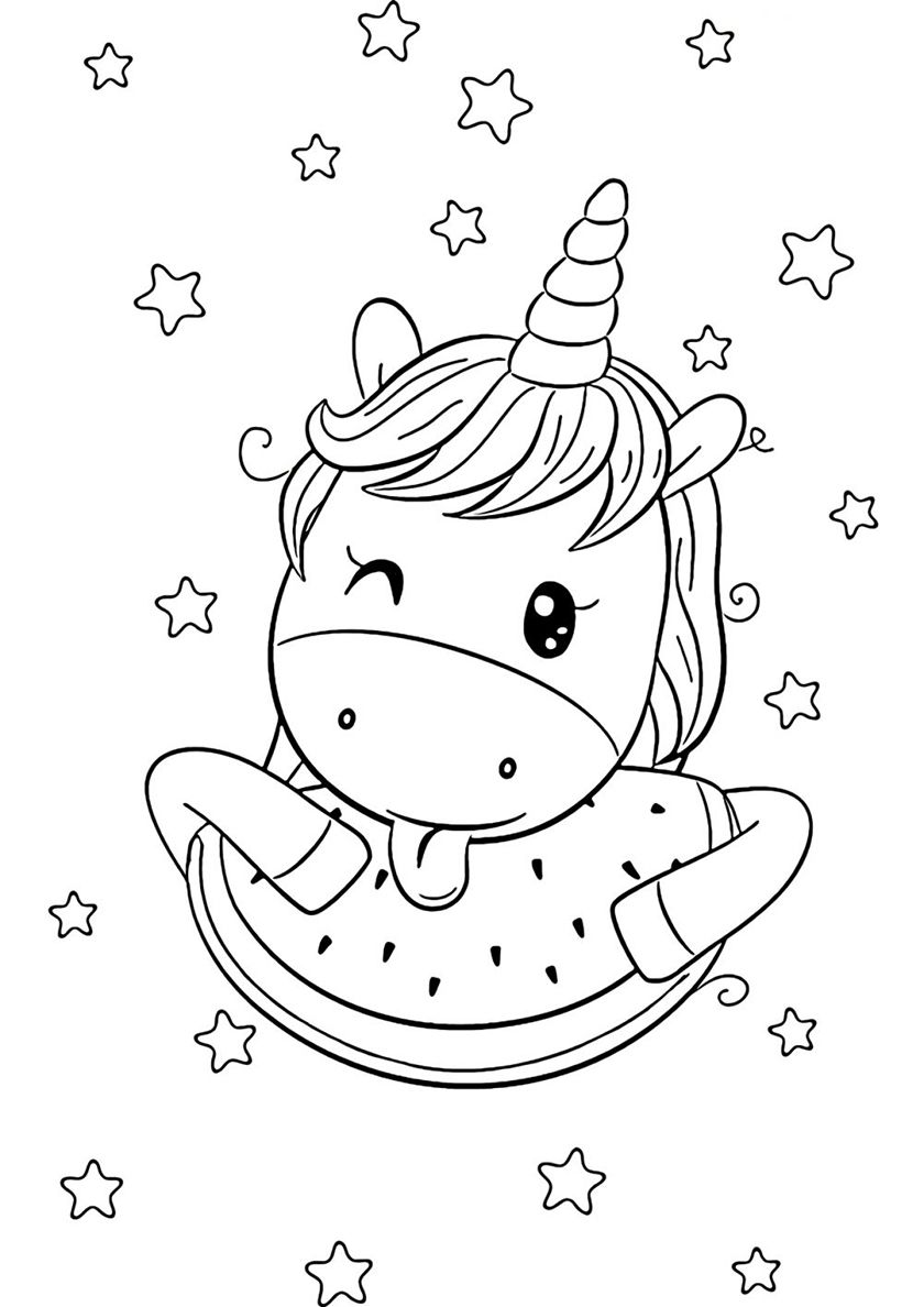 Fruit Dessert High Quality Free Coloring From The Category Unicorn More Printable Pictures On Our Unicorn Coloring Pages Coloring Pages Free Coloring Pages