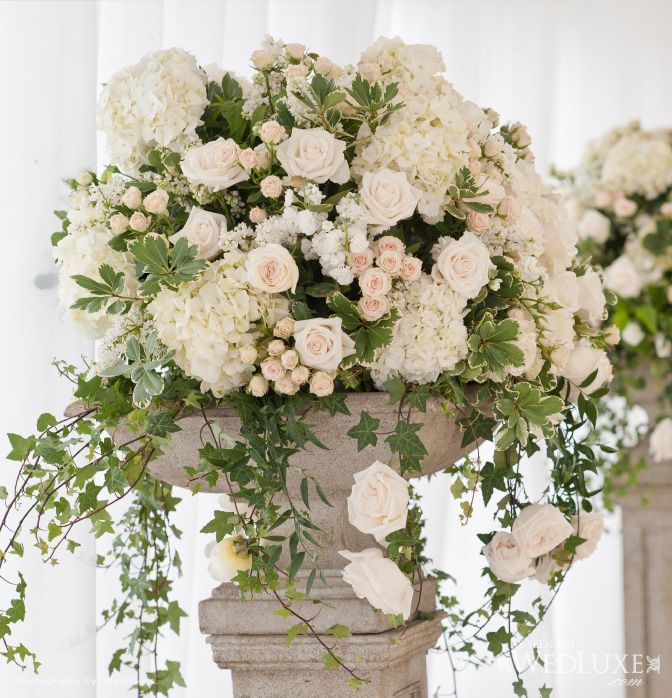 Flower Arrangement For Church Wedding: White And Champagne Urn Arrangements With Hydreangeas And