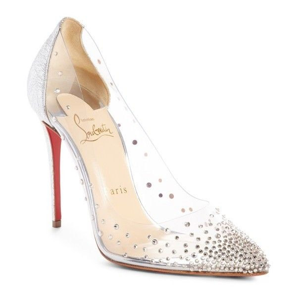 e795493cf5c Women s Christian Louboutin Degrastrass Clear Embellished Pump (€885) ❤  liked on Polyvore featuring shoes