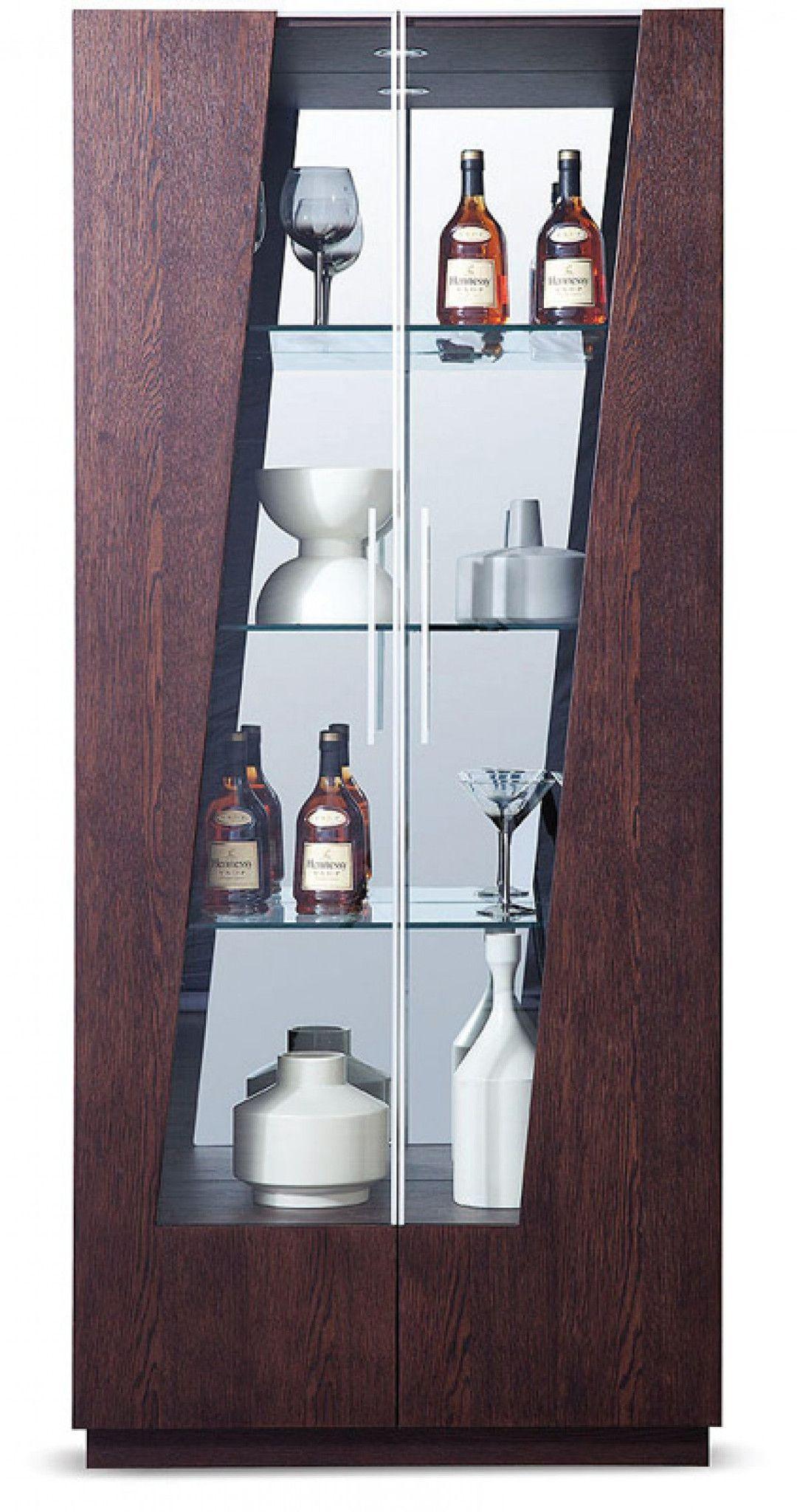 Modrest Prizma Modern Wenge and Glass Dining Display Cabinet