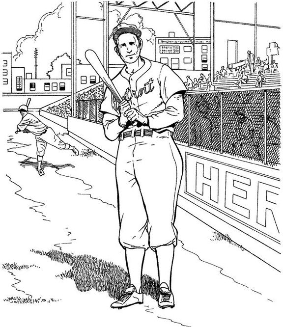 detroit tigers batter baseball coloring page purple kitty