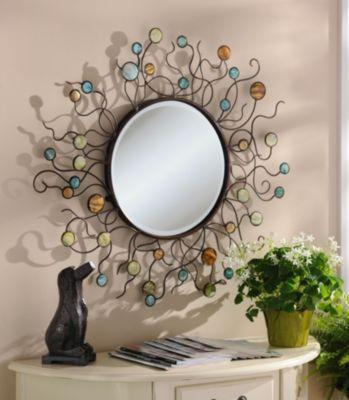Mermaid Metal Mirror Floral Mirror Mirror Decor Metal Mirror
