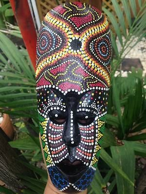 ABORIGINAL AFRICAN MASK TRIBAL DECOR CARVED DOT ART HOME HANGING HAND PAINT WOOD