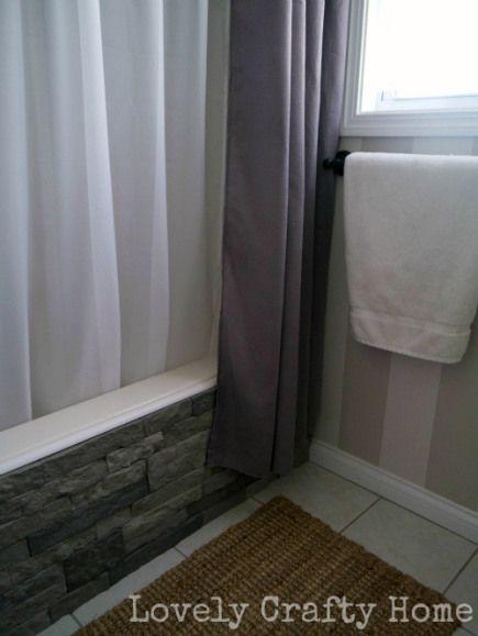 Faux Brick Tub Cover Plus Dual Layer Shower Curtains