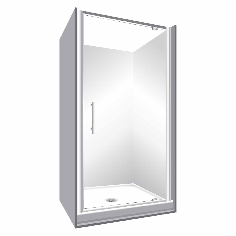 Stellar Aquila Alcove 3 Sided Shower Flat Wall 1000 X 1000mm Silver Pivot Doors Wall