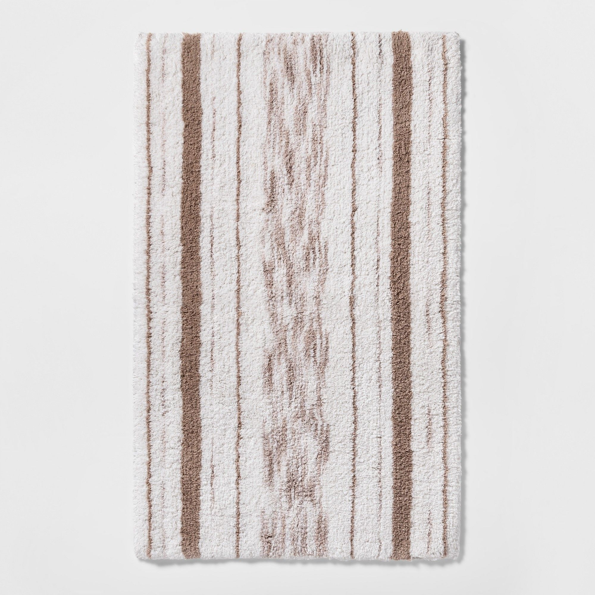 Superbe Striped Accent Bath Rug Beige Linen   Threshold