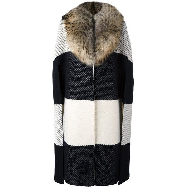 Burberry 'Prorsum' coat (6.855 BRL) ❤ liked on Polyvore featuring outerwear, coats, fur coat, burberry coat and burberry
