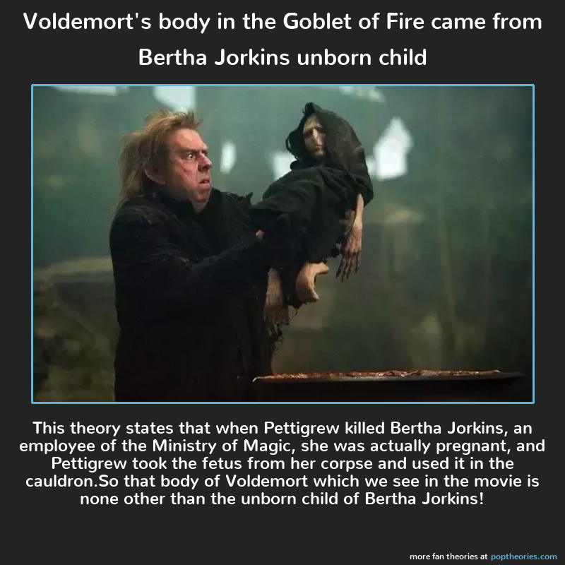Voldemort S Body In The Goblet Of Fire Came From Bertha Jorkins Unborn Child Voldemort Body Voldemort Harry Potter Theories