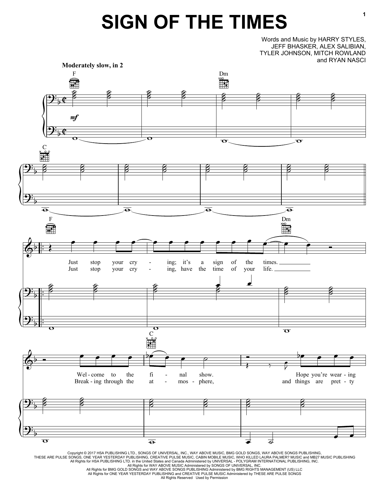 Harry Styles Sign Of The Times Sheet Music Notes Chords Score