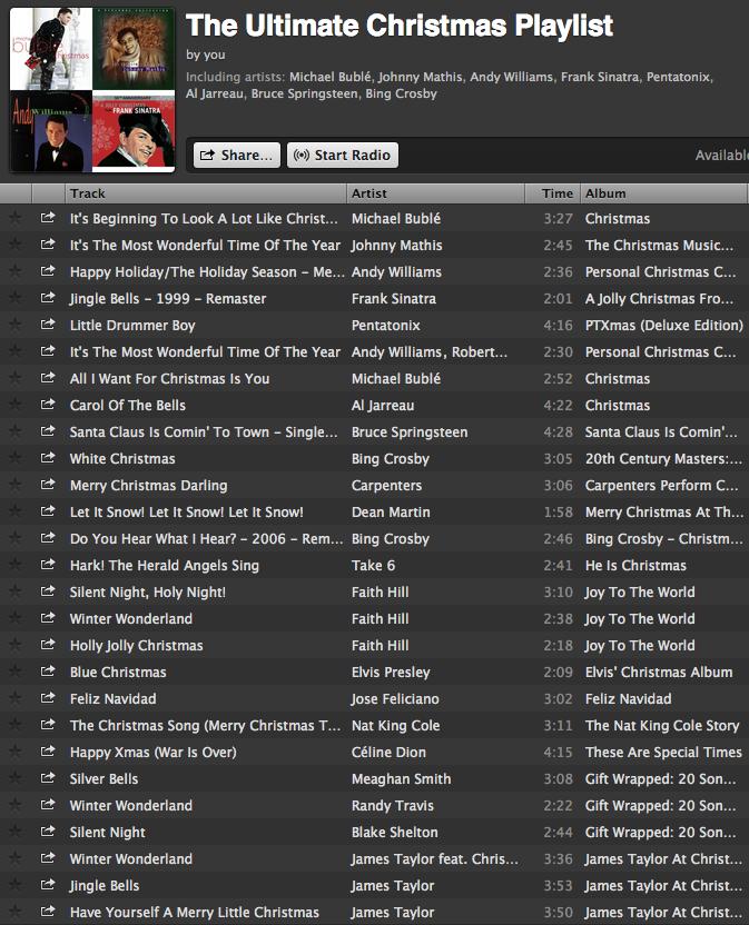 Ultimate Christmas Playlist.... full list of 138 tracks