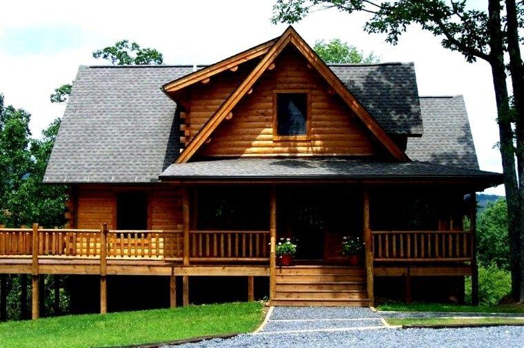 bonita fachada porche de madera casas de campo