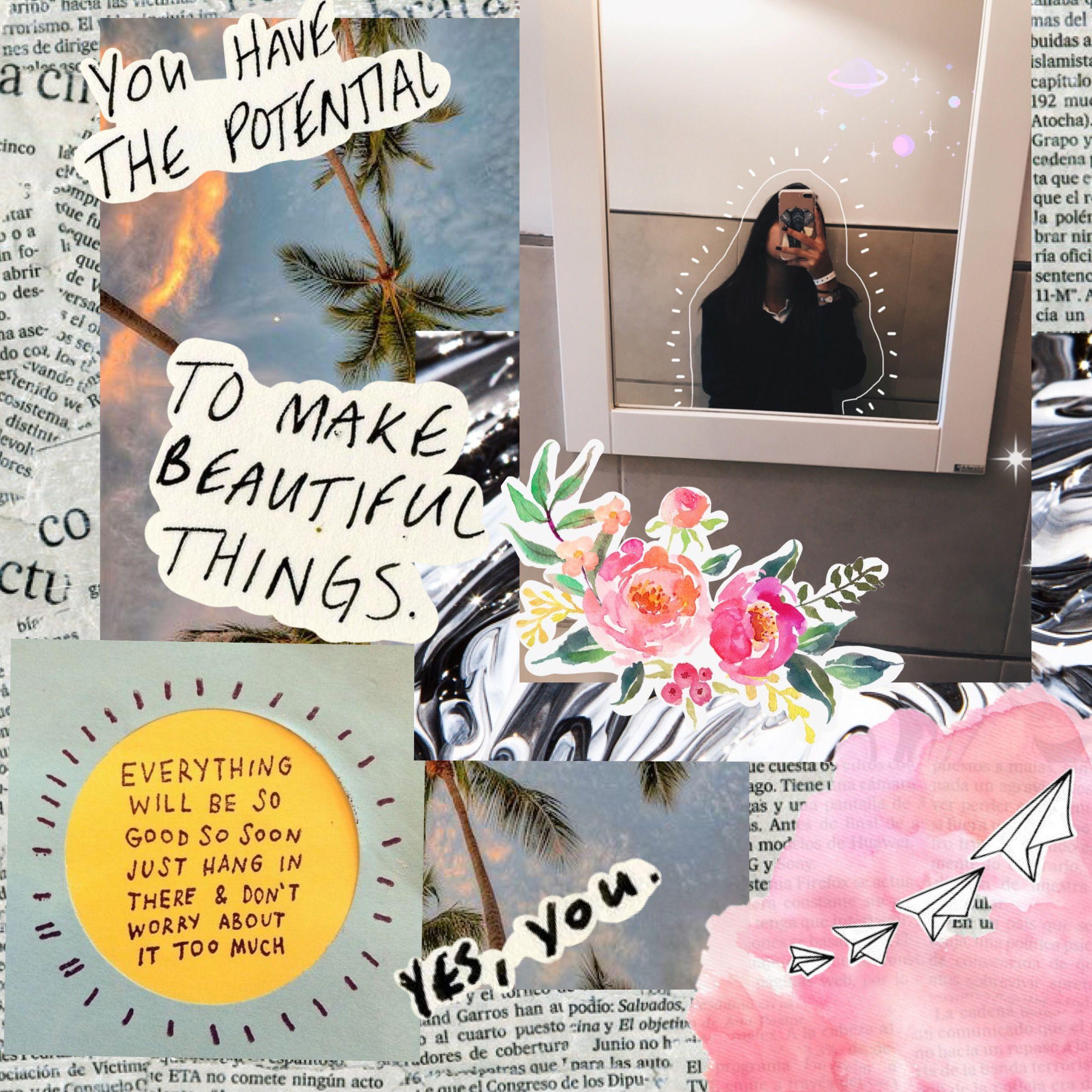 Collage Art Edit flowers miror Quote Design