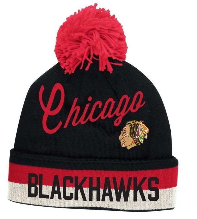 57f7a1ac69ebda Chicago Blackhawks Vintage CCM Cuffed Pom Knit Hat-Black | Products ...