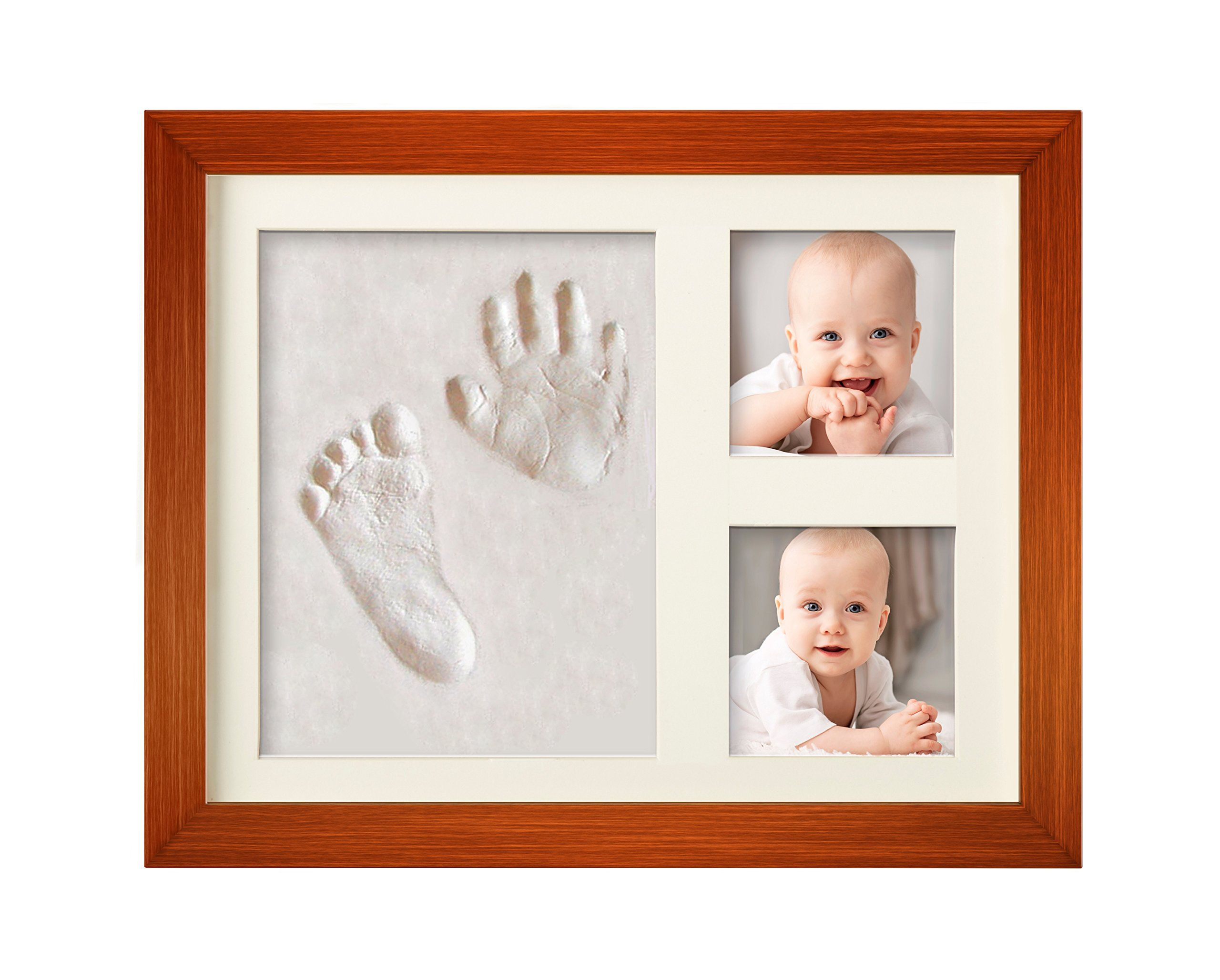 Bubzi co baby clay handprint footprint photo frame kit for newborn girls and boys