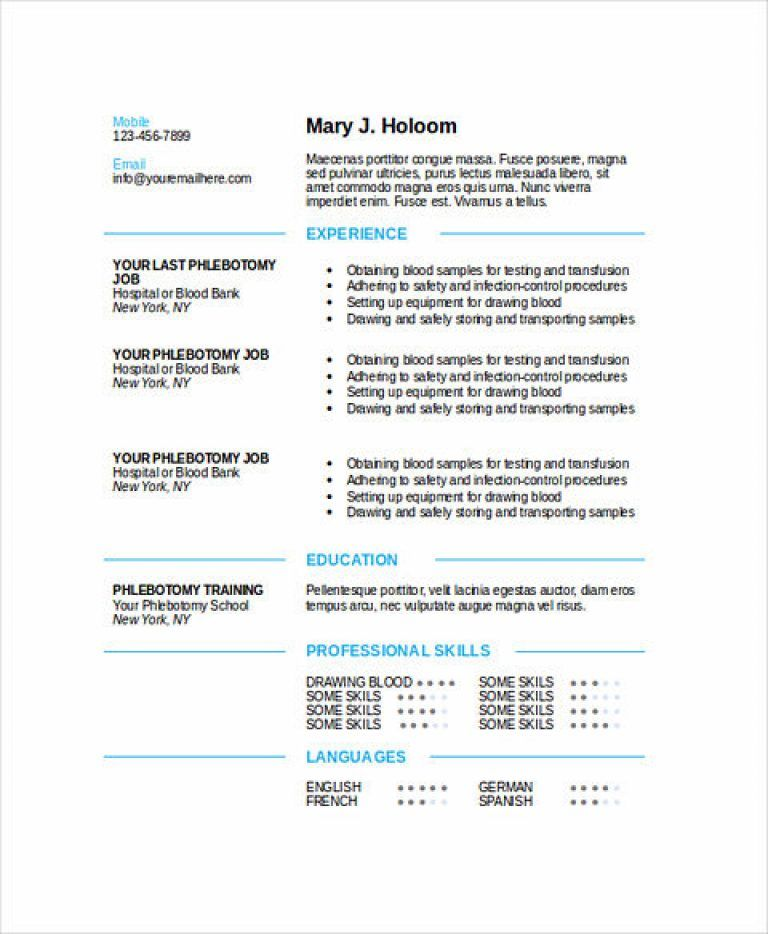 Phlebotomy Resume Sample and Tips Free resume template