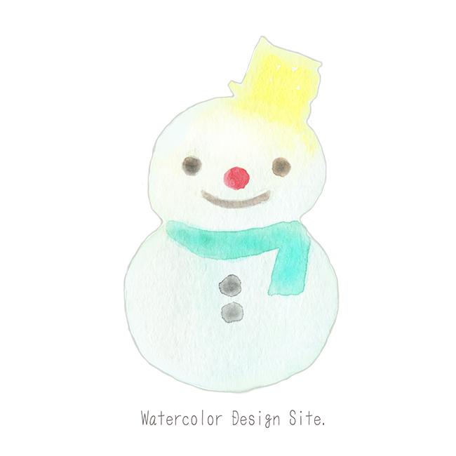 水彩雪だるまイラスト おしゃれフリー素材 雪だるま イラスト