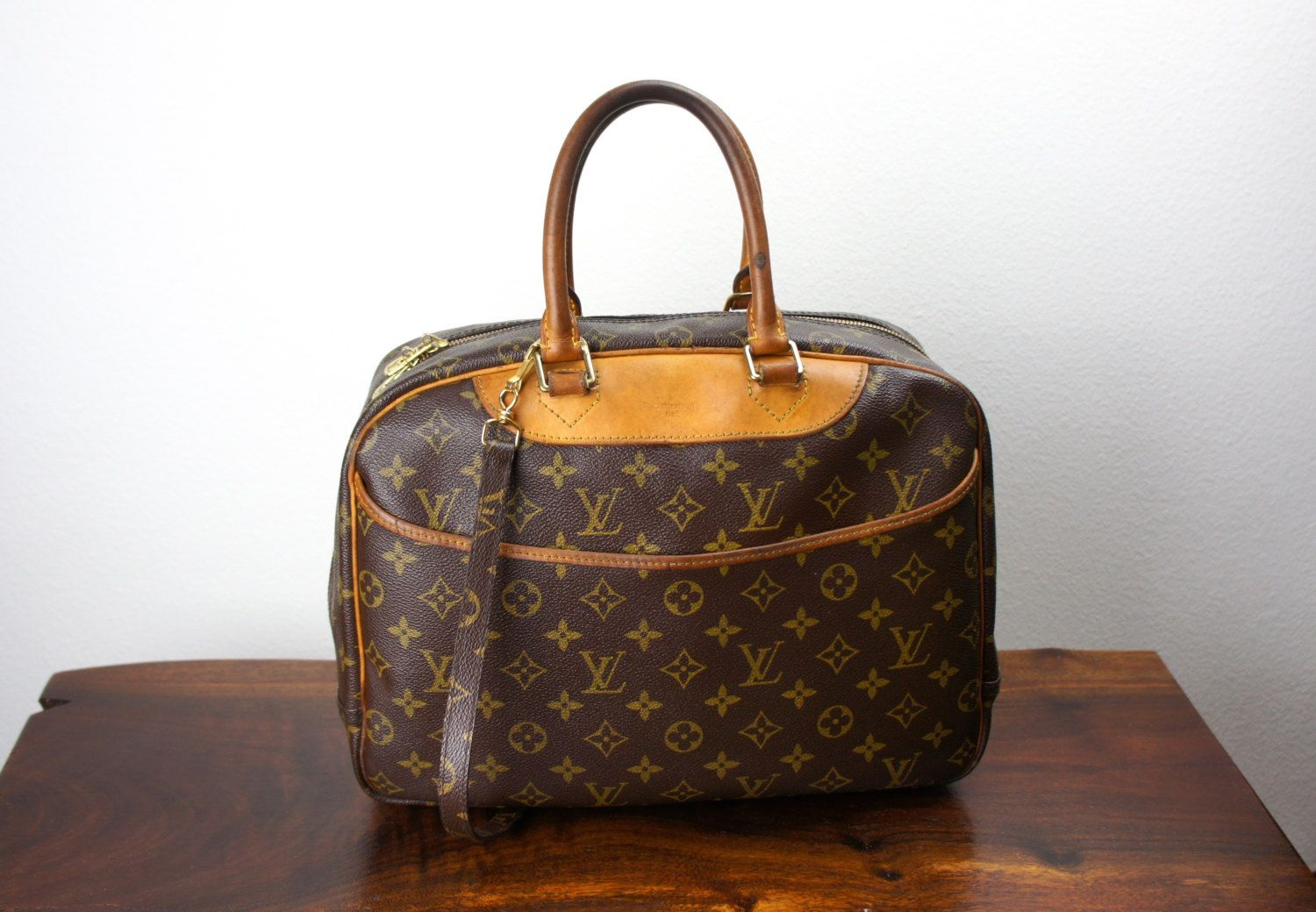 Vintage Louis Vuitton Deauville Travel Duffle Bag Carryon Weekender Bag Cosmetic Case Luggage Duffle Bag Travel Vintage Louis Vuitton Louis Vuitton Deauville