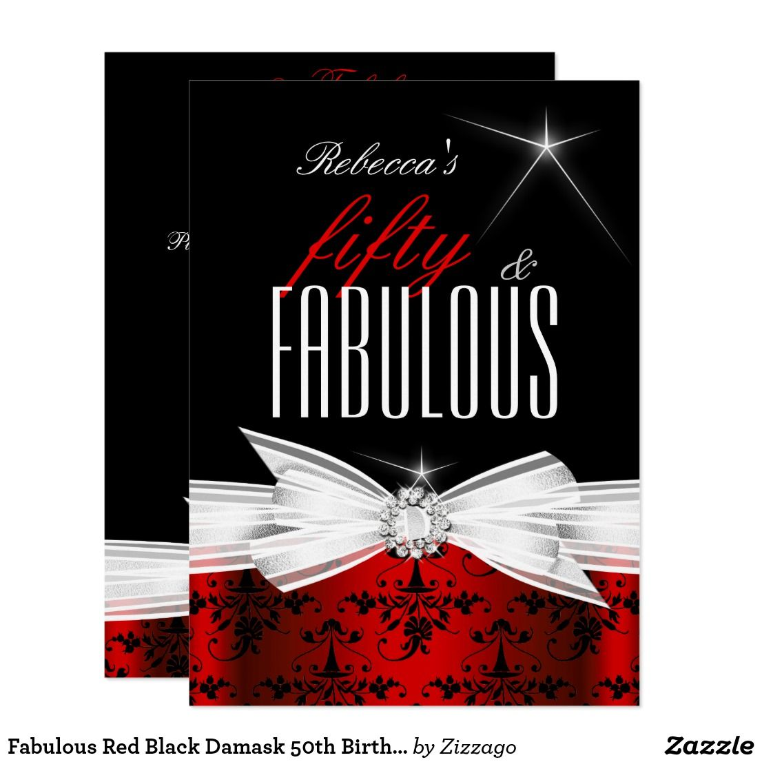 fabulous red black damask 50th birthday party invitation in 2018