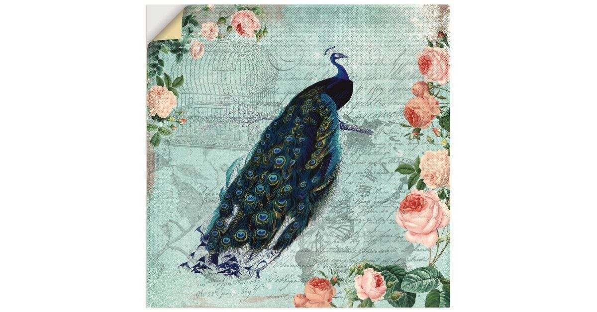 Artland Wandfolie »UtArt: Vintage Rosen und Pfau Illustration« online kaufen | OTTO #illustrationart