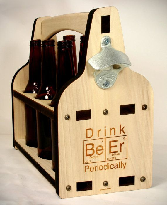 Beer Holder Beer Caddy Six Pack Beer Tote 6 Pack Holder Drink Beer Periodic Table Beer Crate Beer Caddy Beer Wood