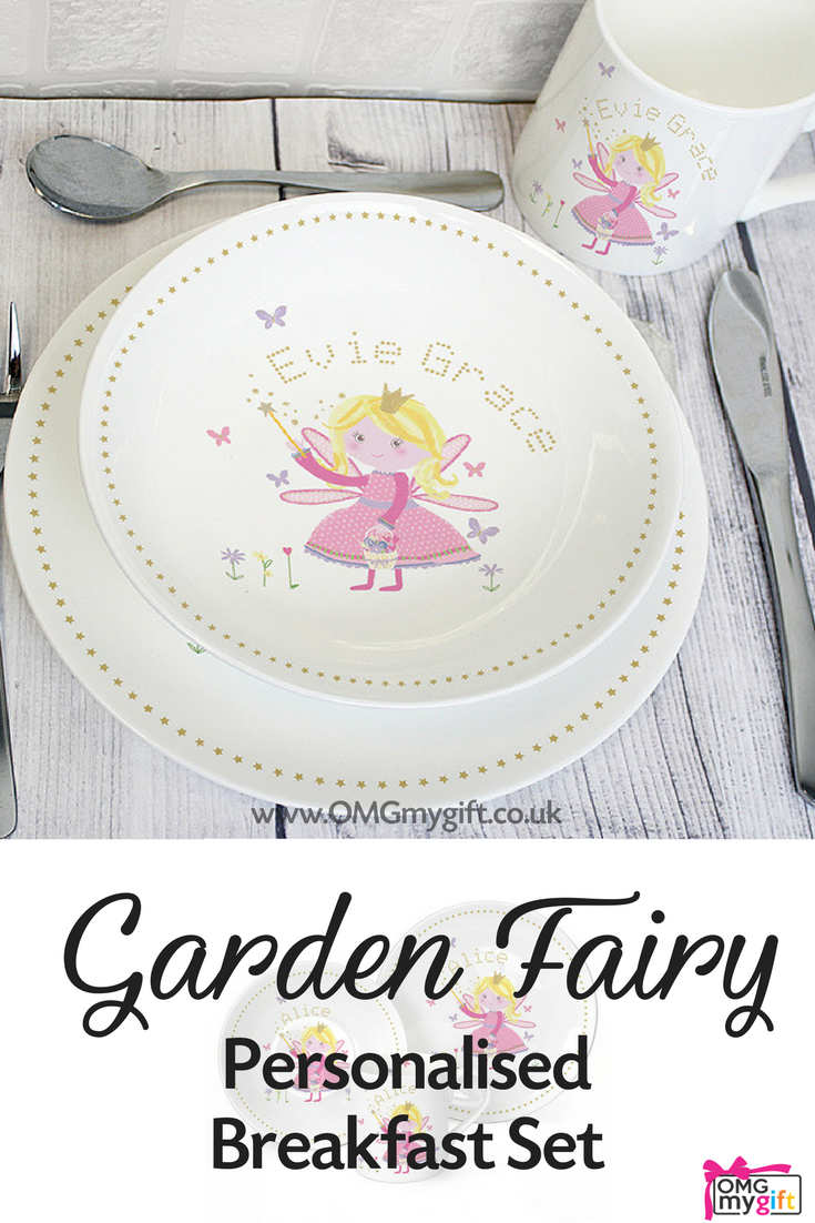 Childrenu0027s Personalised Breakfast Set. A sweet Plate Mug u0026 Bowl set that features a charming Garden Fairy Design. Add a name to make a totally unique New ...  sc 1 st  Pinterest & Childrenu0027s Personalised Breakfast Set. A sweet Plate Mug u0026 Bowl set ...