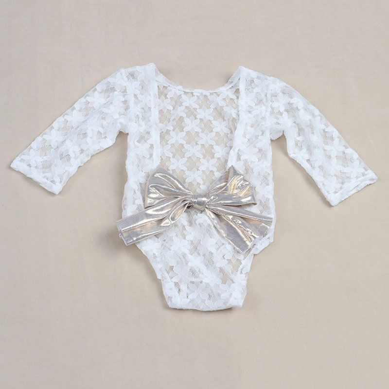 8b31129f3f208 White Newborn Photography Props Baby Girl Lace Romper with Bow ...