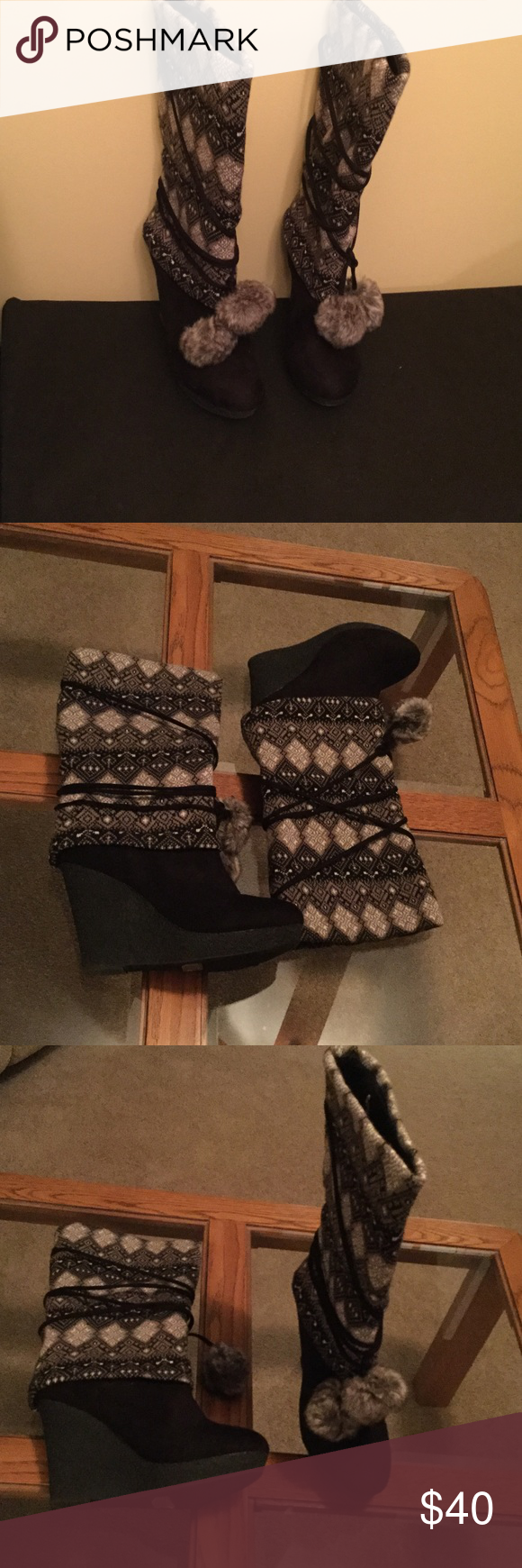 Diva Lounge Boots All man made material.  4 inch wedge bottom of boot feel like suede type & upper boots is a sweater look cushioned inside material.  Like new condition, worn once.  15 inches from floor to top of boot.  Very comfy. Diva Lounge Shoes Winter & Rain Boots