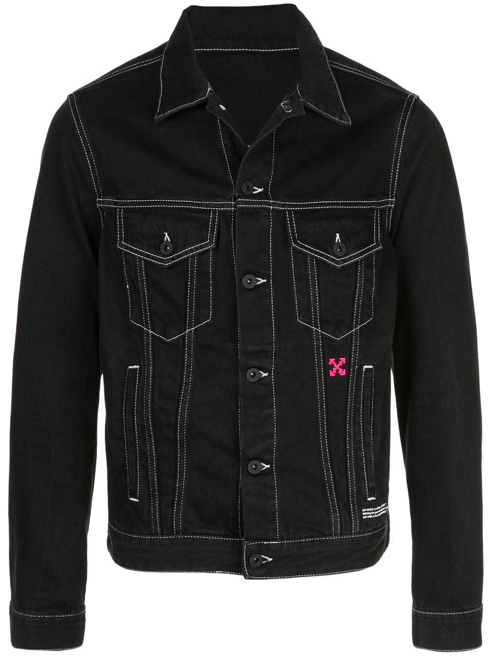 Contrast Logo Denim Jacket In Black Denim jacket