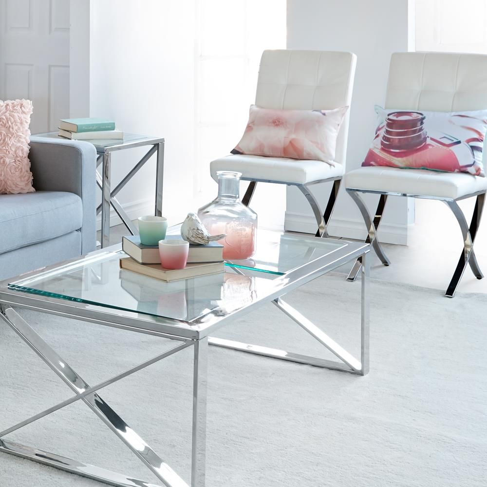 $259 Glass-Top Coffee Table with Stainless Steel Frame/Coffee Tables ...